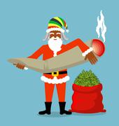 Rasta Santa Claus wishes. Big Red sack hemp . Bag of marijuana. Pile of green Stock Illustration