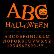 Halloween font. Curves of letters to terrible holiday. Broken alphabet. Uneve Stock Illustration
