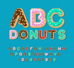 Donuts ABC. pie alphabet. Baked in oil letters. icing and sprinkling. Edible  Stock Illustration