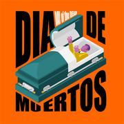 Day of the Dead. Open coffin. departed zombie in casket. Mexican traditional  Piirros