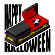 Happy Halloween. Dracula in open coffin. Illustration for terrible holiday. V Piirros