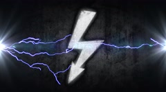 Power symbol. Electrical discharges in sign. energy concept Stock Footage