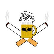 Beer and cigarettes. Alcohol and smoking sign. Logo for harm health. Emblem f Stock Illustration