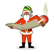 Rasta Santa Claus great joint or spliff. Smoking drug. Cheerful grandfather w Stock Illustration