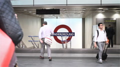 Kings Cross Underground station entrance, London, UK Stock Footage