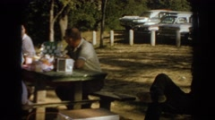 1967: a family gathered at a recreational area for a picnic  Stock Footage