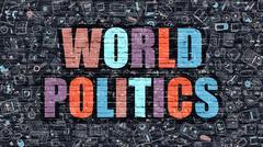 Multicolor World Politics on Dark Brickwall. Doodle Style Stock Illustration