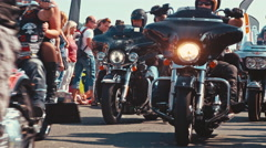 Motorcycle convoy with sidecar at a biker parade Stock Footage