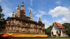 Seven Chedis in Wat Jet Yod, Chiangmai, Thailand Stock Footage