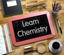 Learn Chemistry on Small Chalkboard. 3D Stock Illustration