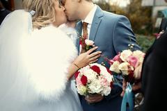Happy beautiful newlyweds Stock Photos