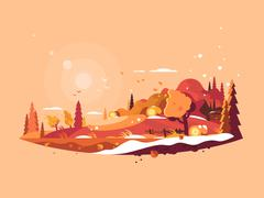 Landscape autumn vector Stock Illustration