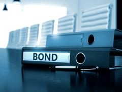 Bond on Office Folder. Blurred Image. 3D Stock Illustration