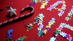 Inscription colored stars new year on a red background Stock Footage