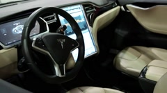 Tesla electromobile interior Stock Footage