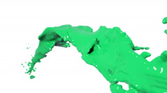 Colored paint. flying green fluid stream in slow motion DOF Stock Footage