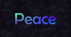 Blue Peace text turns into dust to bottom Stock Footage