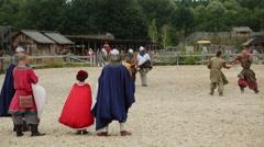 Actors in arena in Kyivan Rus park, Kopachiv village Stock Footage
