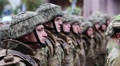 Soldiers in green uniform at the military parade in Kiev, Ukraine HD Footage