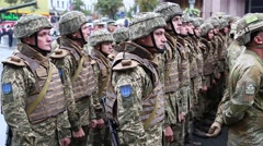 Soldiers at military parade in Kiev, Ukraine Stock Footage