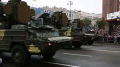Parade of military hardware in Kiev, Ukraine Stock Footage