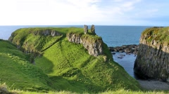Northern Ireland, Dunseverick Castle Stock Footage