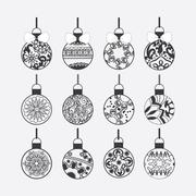 Christmas balls various Round shapes in zentangle style Stock Illustration