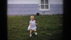 1959: the cute baby is running alone speedily forward and stop  Stock Footage