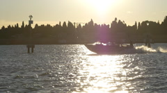 Fast Boat Leaves Wake Stock Footage