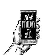 Smartphone hold male hand. Lettered text Black friday BIG SALE. Stock Illustration