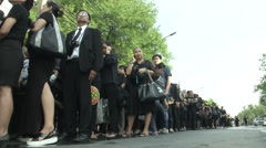 Thai King's Death Long Lines at Grand Palace Stock Footage