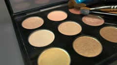A professional make up palette, the shot is moving from left to right Stock Footage