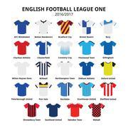 English Football League One jerseys 2016 - 2017 vector icons set Stock Illustration