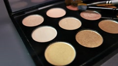 Footage of a make up palette and its nude colors, the shot is moving Stock Footage