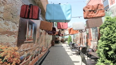 Dnepr, Ukraine - many old suitcases hang on the street Stock Footage