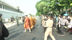 Thai King's Death Monks Lead People Stock Footage