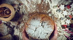 4k Christmas Food from Above Composition of Hands Taking Dough Putting Bred Stock Footage