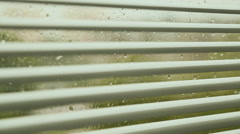 Open blinds on the window at the rainy weather Stock Footage