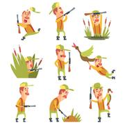 Hunter In Different Funny Situations Set Of Illustrations Stock Illustration