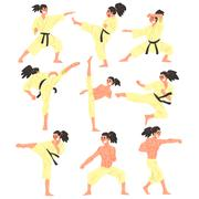 Professional Martial Arts Sportsman Funny Character Set Stock Illustration