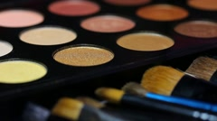 A colorful make-up palette, the shot is moving Stock Footage