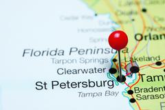 St Petersburg pinned on a map of Florida, USA Stock Photos