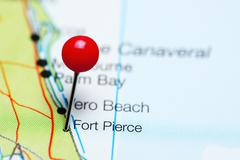 Fort Pierce pinned on a map of Florida, USA Stock Photos