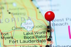Boca Raton pinned on a map of Florida, USA Stock Photos