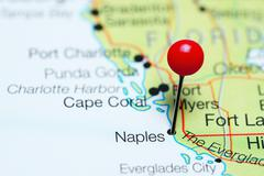 Naples pinned on a map of Florida, USA Stock Photos