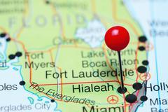 Hialeah pinned on a map of Florida, USA Stock Photos