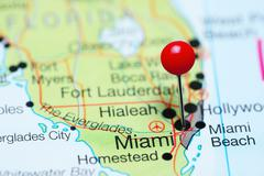 Miami pinned on a map of Florida, USA Kuvituskuvat