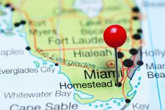 Homestead pinned on a map of Florida, USA Stock Photos