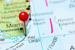 Key Largo pinned on a map of Florida, USA Stock Photos