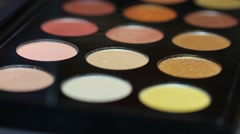 Footage of a professional make up palette, the shot is moving from left to right Stock Footage